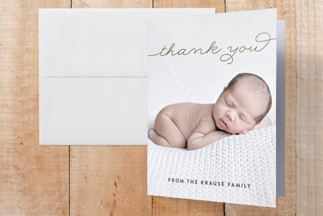 Warm Hello Foil-Pressed Birth Announcement Thank You Cards