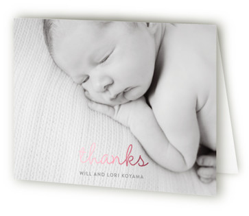 Simple Hi Foil-Pressed Birth Announcement Thank You Cards