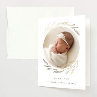 """""""Golden Wreath"""" - Preppy Foil-pressed Birth Announcement Thank You Cards in Silk by Kelly Schmidt."""