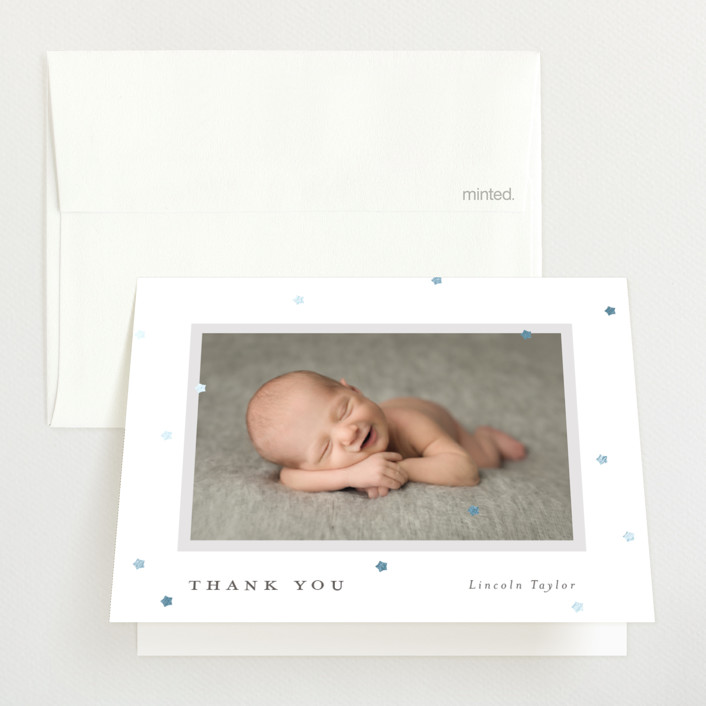 """""""A little star"""" - Foil-pressed Birth Announcement Thank You Cards in Snow by Michelle Taylor."""