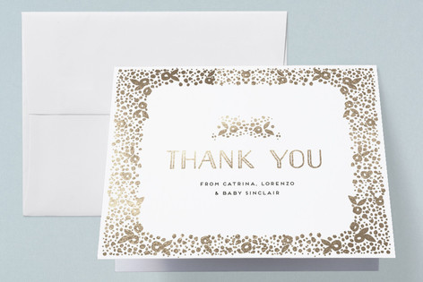 millefiori Foil-Pressed Birth Announcement Thank You Cards