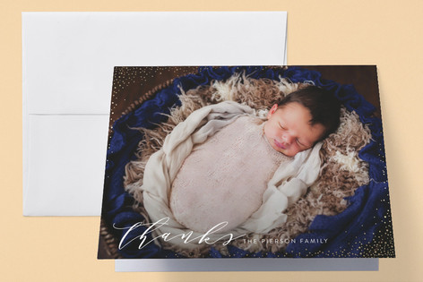Elegant Dots Foil-Pressed Birth Announcement Thank You Cards