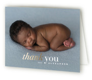 This is a gold baby thank you card by Creo Study called meet up with foil-pressed printing on strathmore in standard.
