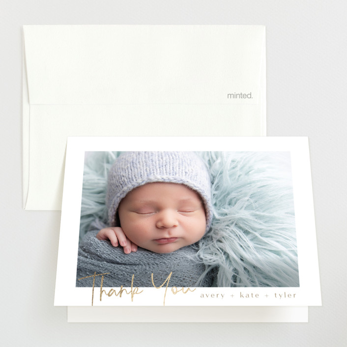 """""""Shimmering Hello"""" - Foil-pressed Birth Announcement Thank You Cards in Latte by Grace Kreinbrink."""
