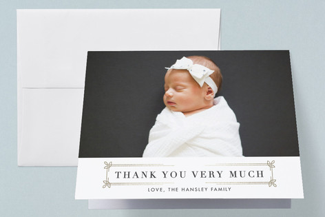 dapper nameplate Foil-Pressed Birth Announcement Thank You Cards
