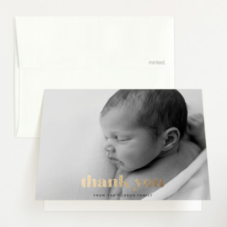 """Hi Baby"" - Foil-pressed Birth Announcement Thank You Cards in Licorice by Angela Thompson."