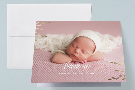 Shiny leaves Foil-Pressed Birth Announcement Thank You Cards