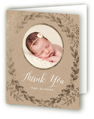 Gilded Garden Foil-Pressed Birth Announcement Thank You Cards