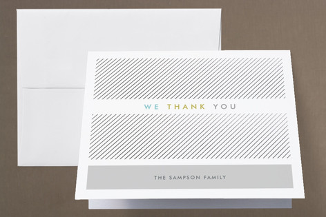 Business Attire Foil-Pressed Birth Announcement Thank You Cards