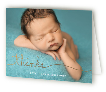 Love Line Foil-Pressed Birth Announcement Thank You Cards