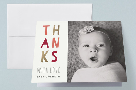 Bright Baby Foil-Pressed Birth Announcement Thank You Cards