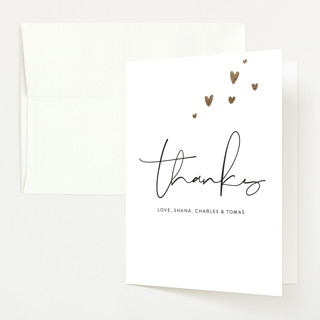 """""""Tiny Hearts"""" - Foil-pressed Birth Announcement Thank You Cards in Taupe by Ellis."""
