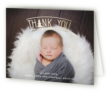 Adventurous Tribal Foil-Pressed Birth Announcement Thank You Cards