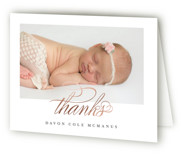This is a grey baby thank you card by Jessica Williams called Delicate with foil-pressed printing on strathmore in standard.