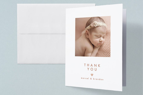 New Love Foil-Pressed Birth Announcement Thank You Cards