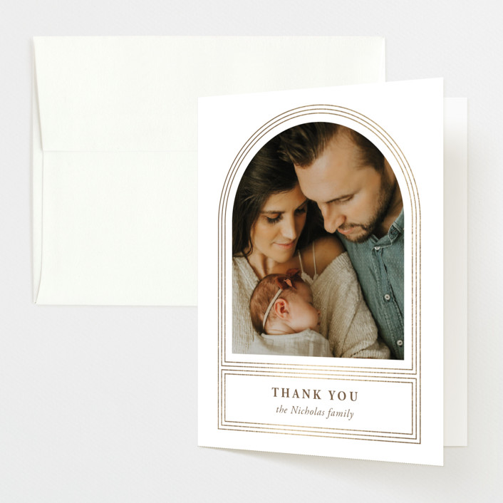 """""""Art Deco Arch"""" - Foil-pressed Birth Announcement Thank You Cards in Gilded by Heather Francisco."""
