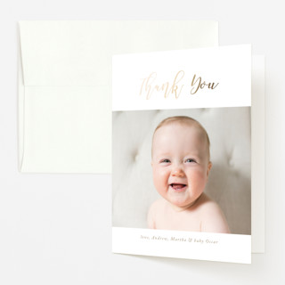 """Special Intro"" - Foil-pressed Birth Announcement Thank You Cards in Brass by Roopali."