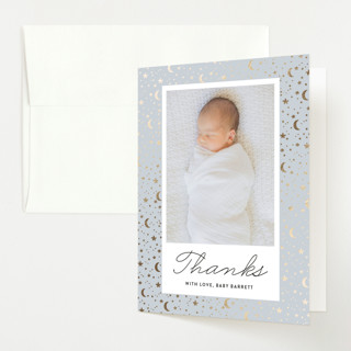 Starry Night Foil-Pressed Birth Announcement Thank You Cards