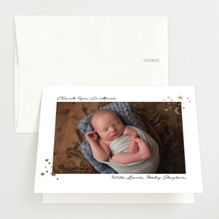 Elegant accent Foil-Pressed Birth Announcement Thank You Cards