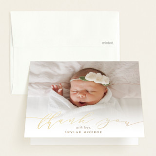 """""""Treasured"""" - Foil-pressed Birth Announcement Thank You Cards in Brass by Sarah Brown."""