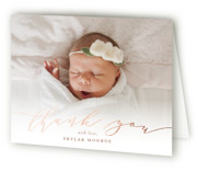 This is a pink baby thank you card by Sarah Brown called Treasured with foil-pressed printing on strathmore in standard.