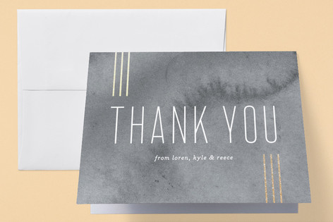 Minimal Lines Foil-Pressed Birth Announcement Thank You Cards