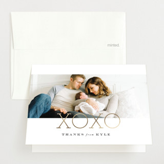 Morning + Night Foil-Pressed Birth Announcement Thank You Cards