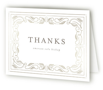 Our Story Foil-Pressed Birth Announcement Thank You Cards