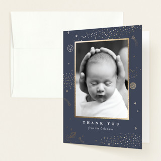 """Out of This World"" - Foil-pressed Birth Announcement Thank You Cards in Navy by Monika Drachal."