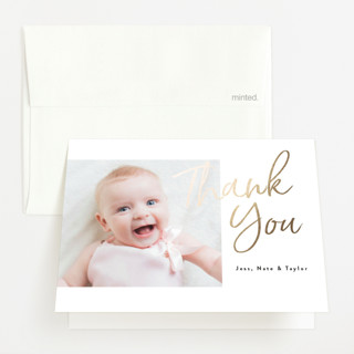"""""""Brighter"""" - Foil-pressed Birth Announcement Thank You Cards in Ebony by Kasia Labocki."""