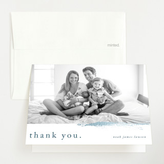 """Subtle brush"" - Foil-pressed Birth Announcement Thank You Cards in Ocean Blue by Lucrecia."
