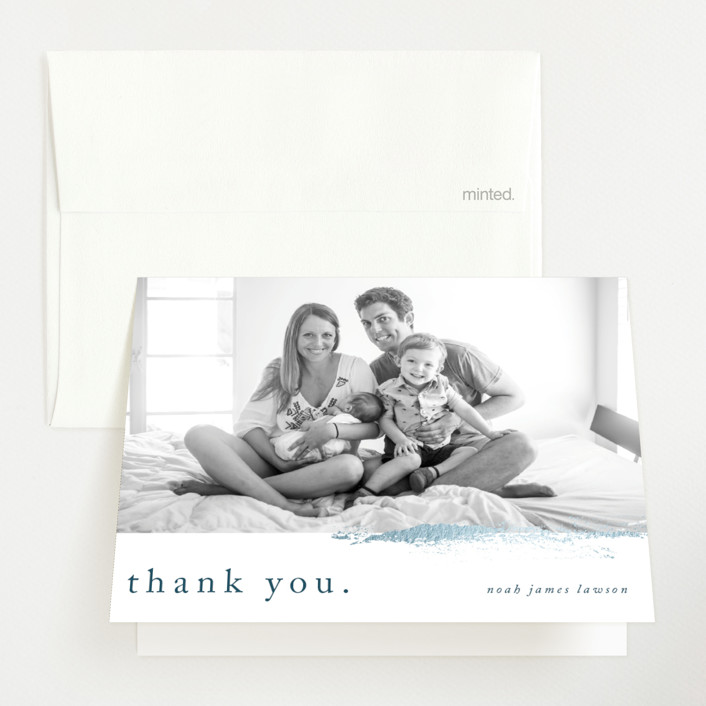 """""""Subtle brush"""" - Foil-pressed Birth Announcement Thank You Cards in Ocean Blue by Lucrecia."""