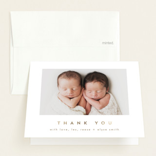 """""""Plus"""" - Modern Foil-pressed Birth Announcement Thank You Cards in Sugar by AK Graphics."""