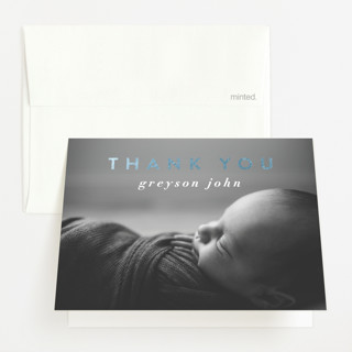 """""""Gilded bold typo"""" - Modern Foil-pressed Birth Announcement Thank You Cards in Cloud by Lucrecia."""