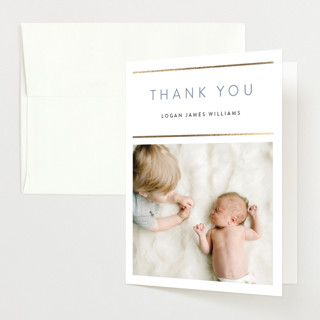 """""""forever snapshots"""" - Foil-pressed Birth Announcement Thank You Cards in Slate by Kasia Labocki."""