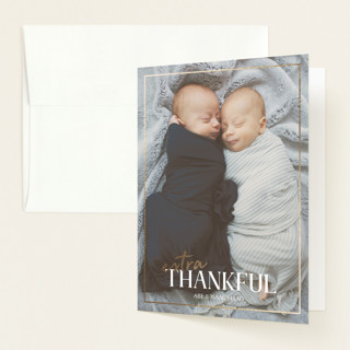 """""""Ampersand Twins"""" - Foil-pressed Birth Announcement Thank You Cards in Porcelain by Meggy Masters."""