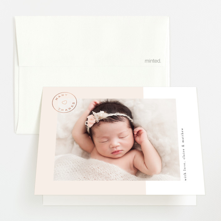 """""""Golden Introduction"""" - Preppy Foil-pressed Birth Announcement Thank You Cards in Bubblegum by Joyce Pinheiro."""