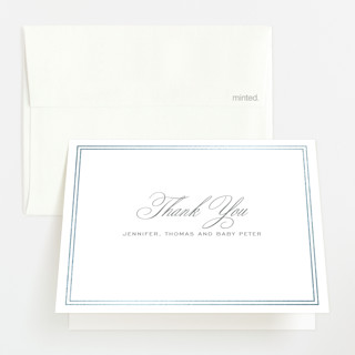 """""""Scholarly Charm"""" - Preppy Foil-pressed Birth Announcement Thank You Cards in Inkwell by Toast & Laurel."""