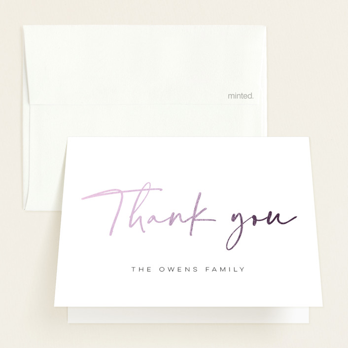 """""""Creative Cursive"""" - Foil-pressed Birth Announcement Thank You Cards in Cloud by Morgan Kendall."""