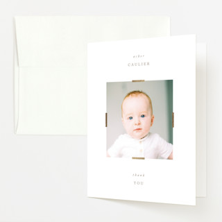 """""""Lineup"""" - Foil-pressed Birth Announcement Thank You Cards in Almond by Erin L. Wilson."""