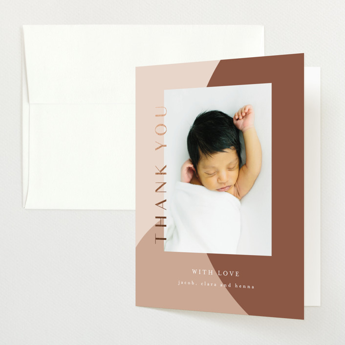 """modern babe"" - Foil-pressed Birth Announcement Thank You Cards in Earth by Angela Garrick."