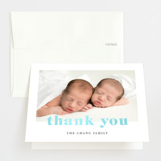 """""""Adorable Duo"""" - Gloss-press™ Birth Announcement Thank You Cards in Sky by Ana Sharpe."""