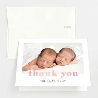 """Adorable Duo"" - Gloss-press™ Birth Announcement Thank You Cards in Sky by Ana Sharpe."