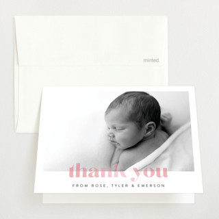 """Modern Baby"" - Gloss-press™ Birth Announcement Thank You Cards in Peony by Angela Thompson."