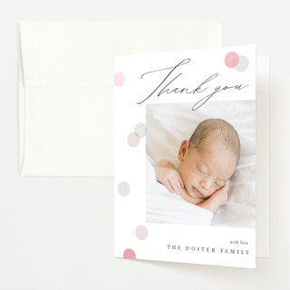 """""""Dots dots and dots"""" - Preppy Gloss-press™ Birth Announcement Thank You Cards in Peony by Pixel and Hank."""