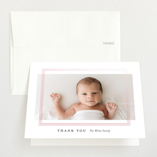 """""""Pearl Frame"""" - Gloss-press™ Birth Announcement Thank You Cards in Baby Blue by Genna Blackburn."""