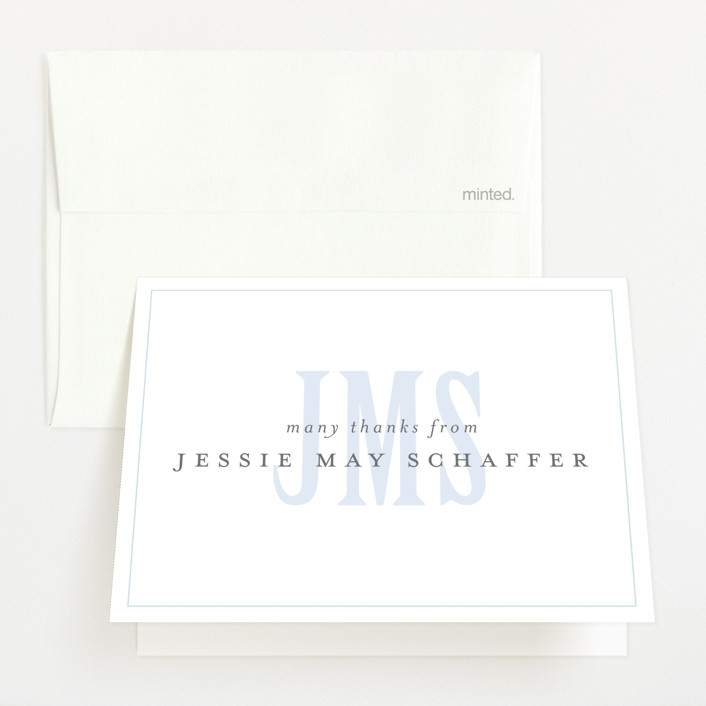 """""""Classic Monogram"""" - Preppy Birth Announcements Thank You Cards in Sky by Fig and Cotton."""