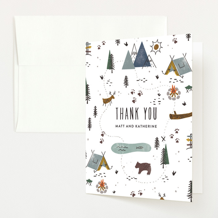 """""""Our Adventure"""" - Whimsical & Funny Birth Announcements Thank You Cards in Blue Spruce by Jamie Bartlett."""