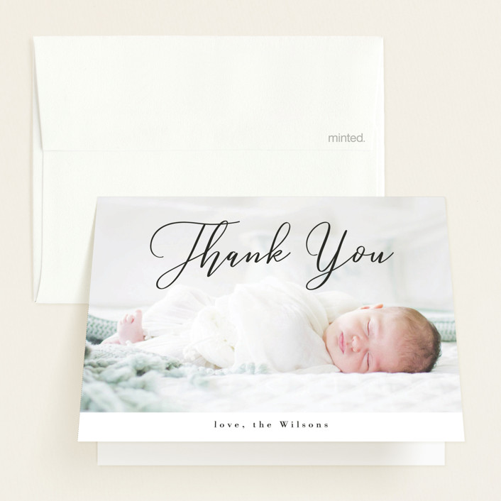 """""""Formal Script"""" - Birth Announcements Thank You Cards in Onyx by Kasia Labocki."""