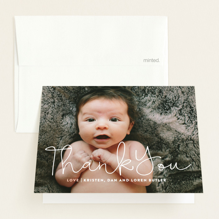 """""""Signature"""" - Modern Birth Announcements Thank You Cards in Blossom by Up Up Creative."""